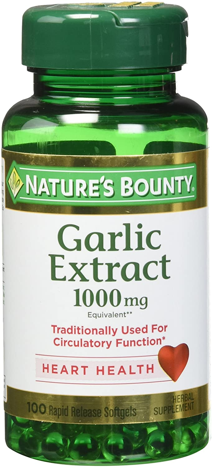 Nature's Bounty Free Shipping New Garlic Extract 1000 Release Softge 100 mg Rapid 1 year warranty