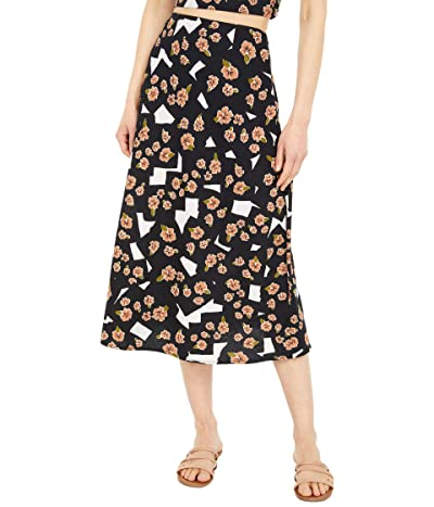 RVCA Floral Pop Midi Skirt (Black) Women