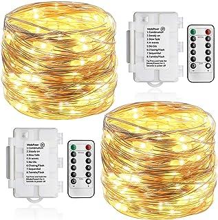 Koopower 2 Pack 36ft 100 LED Outdoor Battery String Lights, Silver Copper Lights for Bedroom, Garden, Easter, Christmas De...