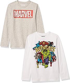 Amazon Essentials Disney Star Wars Marvel 2-Pack Long-Sleeve T-Shirt Tops Fashion-t-Shirts Niños