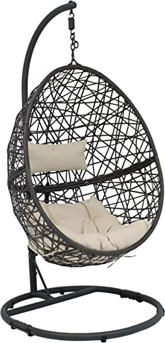 high quality Sunnydaze Caroline Hanging Egg Chair Swing with Steel Stand Set - All-Weather Construction - Resin Wicker Porch outlet sale Swing - Large Basket Design - Outdoor Lounging Chair online sale - Includes Beige Cushions outlet online sale