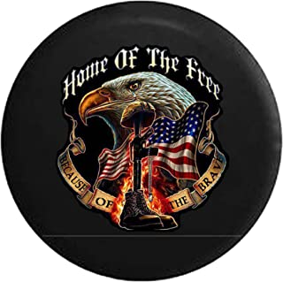 Home of Free Because of The Brave Military Rememberance Boots Rifle with Flag & Eagle Spare Tire Cover fits SUV Camper RV Accessories 31 in