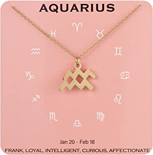 Augonfever Horoscope Constellation Zodiac Sign Necklace Stainless Steel Birthday Gifts for Women Girls