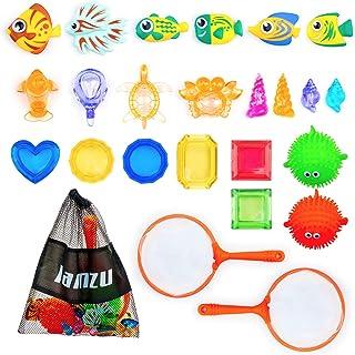 اسباب بازی های استخر غواصی lamzu 24 عدد ، 2 عدد توری ماهیگیری ، 6 عدد ماهی غواصی ، 4 عدد مجموعه گنجینه های دزدان دریایی ، 8 عدد بسته موجودی زیر آب و ماهی پفکر ، اسباب بازی حمام شنای مهمانی برای کودکان