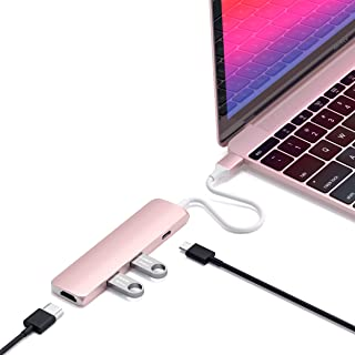 Satechi Slim Aluminum Type-C Multi-Port Adapter with USB-C Pass-Through, 4K HDMI, USB 3.0 - Compatible with 2020 MacBook P...