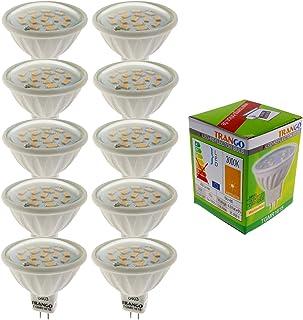 Trango Conjunto de 10 Bombillas LED de 6 vatios con conector MR16 10TGMR1615 para reemplazo Bombilla halógena MR16, GU5.3, G4, 12 Volt 3000 K Bombilla blanca cálida, bombilla reflectora, bombillas LED