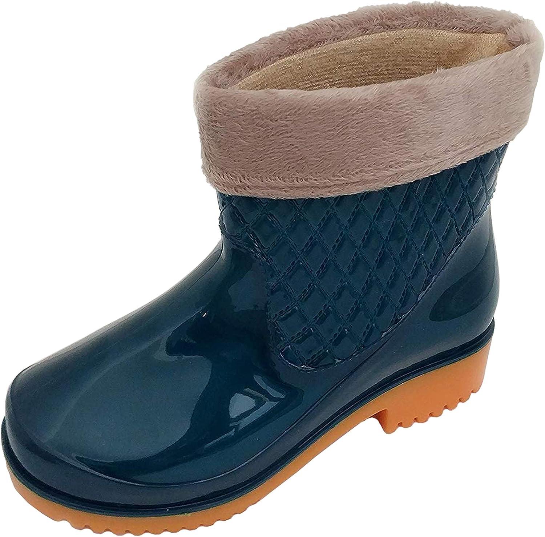 Women and Kid's Fashion Ankle High Rain Boots Anti-Slip Waterproof Rain shoes (S(US 7), Green)