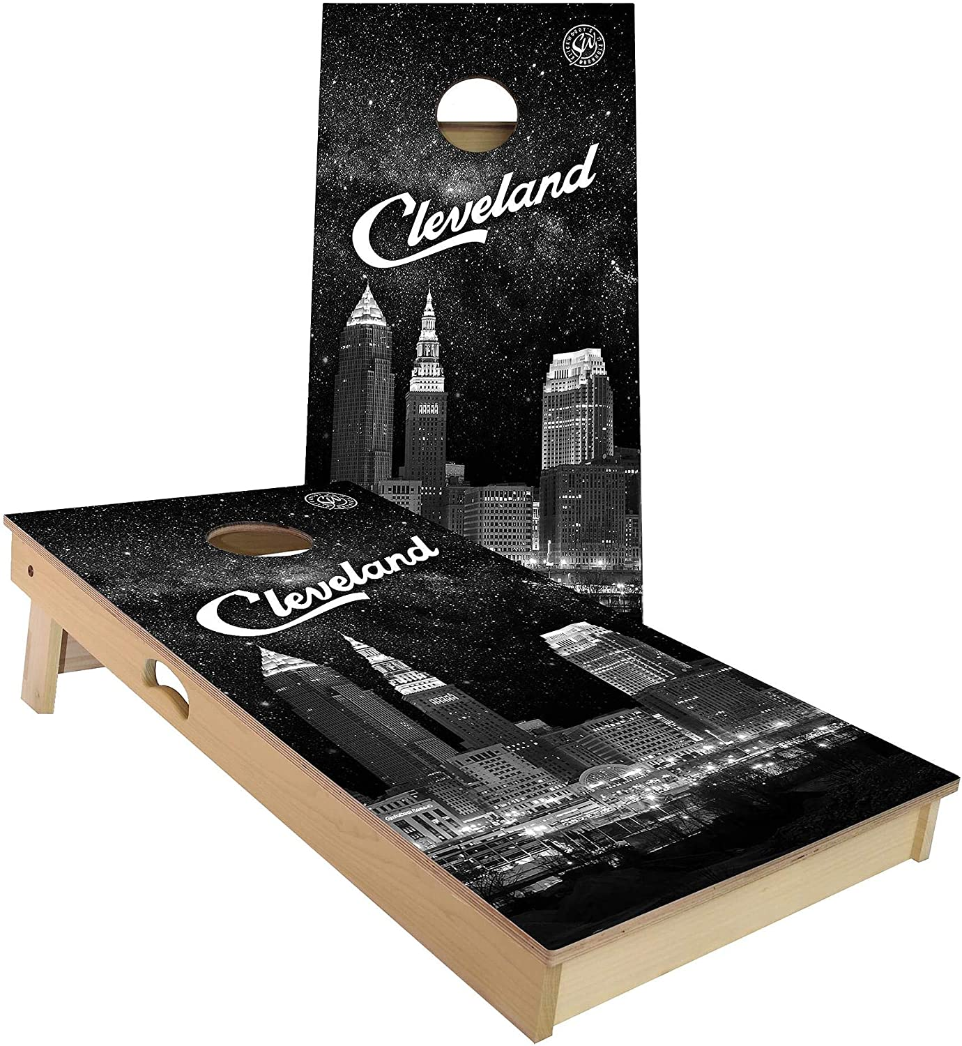 Skip's Outlet ☆ Free Shipping Garage Cleveland at Night All-Weather Set Board Cornhole At the price of surprise