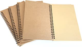 VEEPPO A5 4pcs Spiral Natural Kraft Cover Blank Paper Notebook Wirebound Sketch Book (Natural kraft color paper)