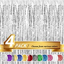 BTSD-home Silver Foil Fringe Curtain, Metallic Photo Booth Tinsel Backdrop Door Curtains for Wedding Birthday and Special Festival Decoration(4 Pack, 12ft x 8 ft)