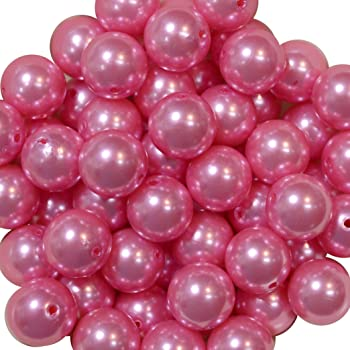 20mm Bright White Faux Pearl Bubblegum Beads Lot of 10 USA Seller