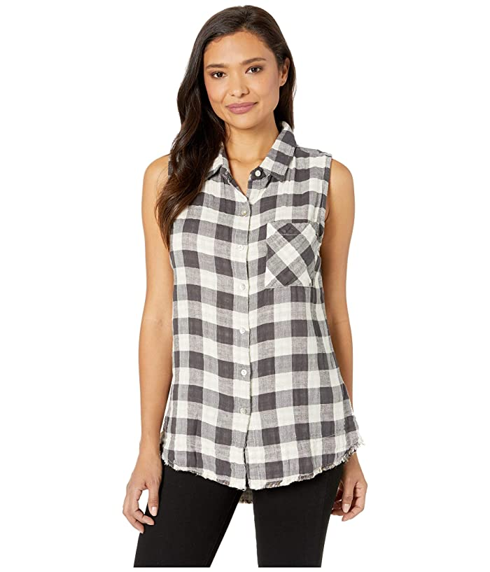 Dylan by True Grit Double Lite Cotton and Linen Checks Sleeveless Shirt with Fray Hem (Tan) Women