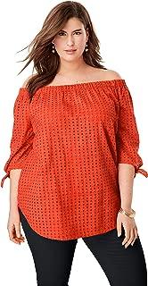 Jessica London Women's Plus Size Eyelet Off-The-Shoulder Shirt