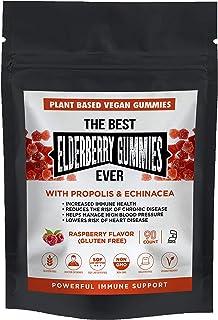 The Best Elderberry Gummies Ever with Echinacea Propolis with Vitamin C Plant Based Pectin Vegan Natural Raspberry Flavor ...