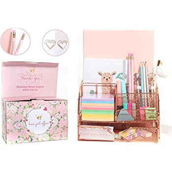 Girl Boss Office Decor   Rose Gold Desk Organizer   Rose Gold Office Supplies   XL Letter A4 Size, 6 Durable Compartments with Drawer   All in One Mesh Desk Organizer   Pen Holder and Pencil Holder