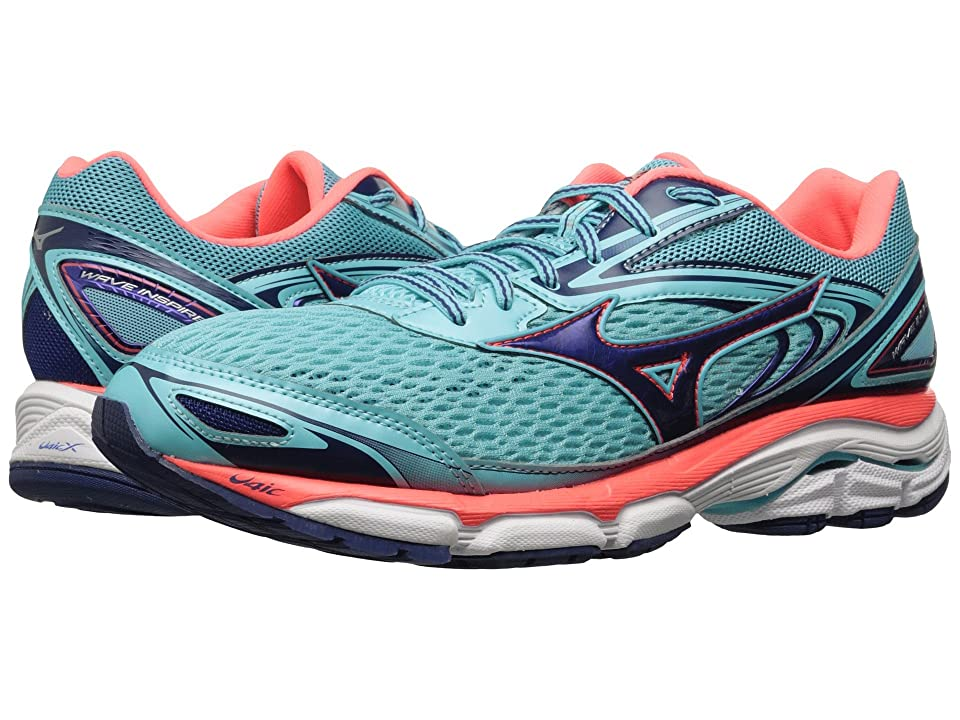 Mizuno Wave Inspire 13 (Blue Radiance/Blueprint/Fiery Coral) Girls Shoes
