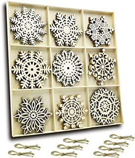 Set of 27 Hanging Wood Snowflakes Ornaments,Christmas Snowflake Decoration,Unfinished Wooden Snowflakes Large for Crafts Winter Wedding Decor Xmas Ornament