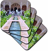 3dRose CST_112956_3 Water Fountains at Alhambra Palace Gardens Grenada Spain Islamic Turkish Muslim Fretwork Arches- Ceramic Tile Coasters, Set of 4