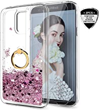 Samsung Galaxy S5 Case with Tempered Glass Screen Protector [2 Pack] for Girls Women, LeYi Cute Glitter Shiny Quicksand Clear Phone Case with Car Holder Kickstand for Samsung S5 ZX Rose Gold