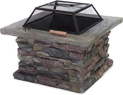 Christopher Knight Home Corporal Natural Stone Square Fire Pit, Light Gray