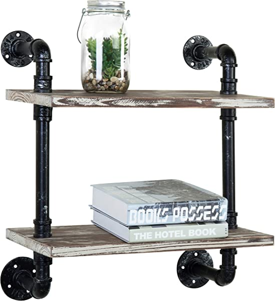 MyGift Industrial Pipe Design 2 Tier Wall Mounted Torched Wood Shelf Rack