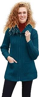 Carraig Donn Irish Coatigan Merino Wool Knit Zipper Sweater Jacket