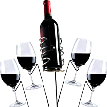 Yohino Wine Stakes 5pc Reinforced Double Brace Stainless Steel Glass and Bottle Holders for Picnics