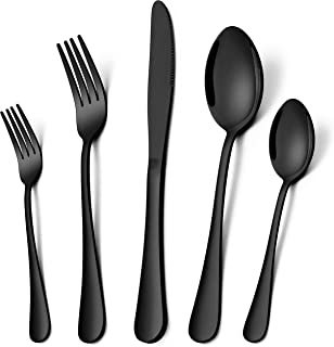 Homikit 20-Piece Black Silverware Flatware Set for 4, Stainless Steel Eating Utensils Cutlery Includes Knives/Spoons/Fork...