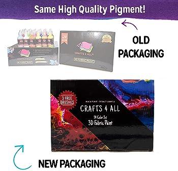 Fabric Paint 3D Permanent 24 Colors Set Premium Quality Vibrant Color Textile Paints Dye For Fabric, Canvas, Wood, Ce...