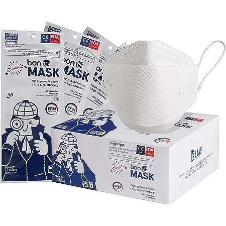 bon Mask Masques FFP2 Premium KF94 3D Certifié CE 0200, Made in Korea, emballage individuel hygiénique (50 masques)