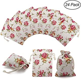 24 Pack Rose Double Drawstring Burlap Bags Gift Burlap Favor Bag Reusable Linen Bags Jewelry Pouches Sacks for Wedding Party, 3.7