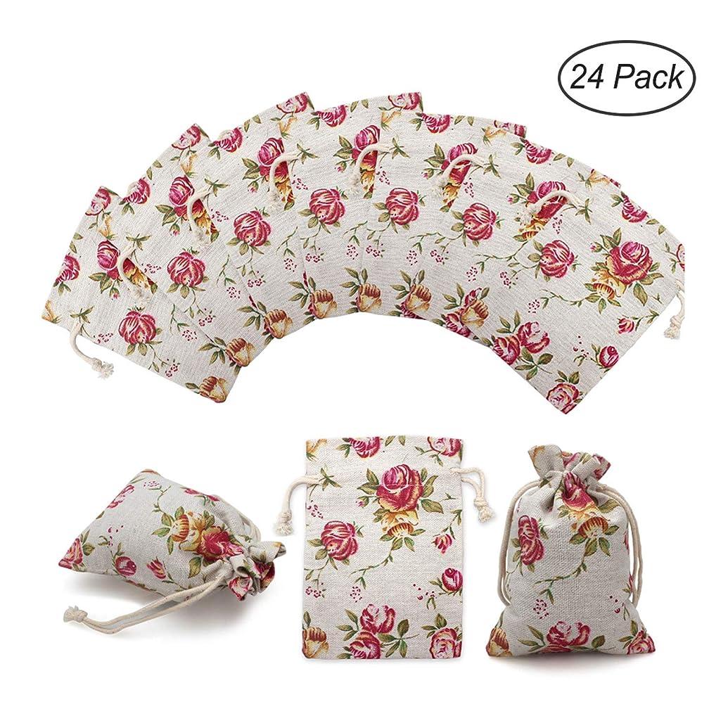 24 Pack Rose Double Drawstring Burlap Bags Gift Burlap Favor Bag Reusable Linen Bags Jewelry Pouches Sacks for Wedding Party, 3.7