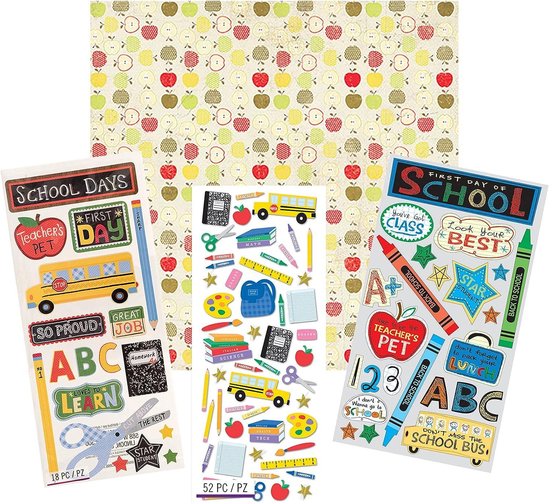 School Scrapbook Stickers and Scrapbook Paper - School Bus, School Supplies Theme Sticker Set and 12x12 Apple Themed Cardstock | Kit for Scrapbooking, Photo Album, DIY Crafts, Keepsake Journal, Binder