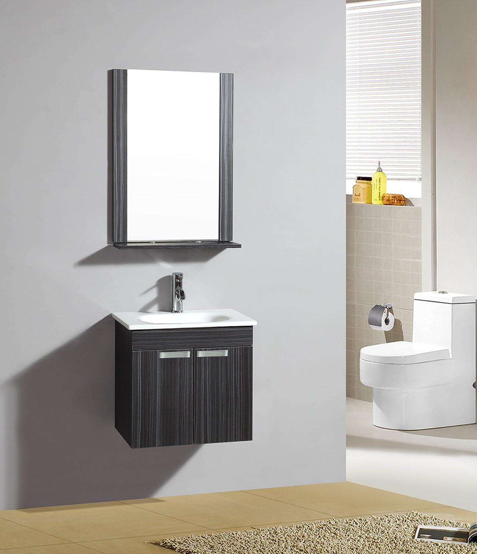 Fitted Bathroom Furniture Set - Lazio Wenge - M-70107 1192 - Mirror - Cabinet - Basin