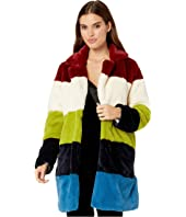 Faux Fur Color Block Coat in Super Nova