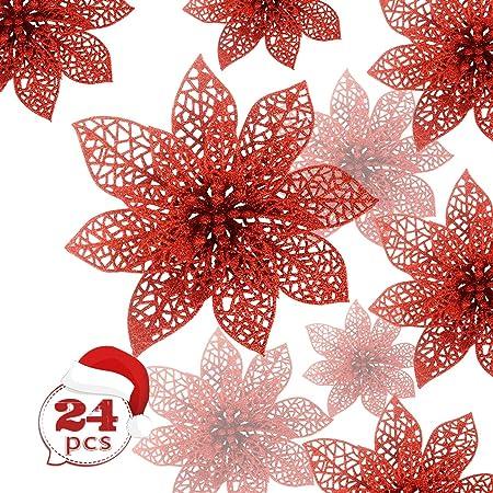 KBNIAN Lot de 24 Pi/èces Fleur /Étoile de No/ël Poinsettia Artificielle d/'Argent Scintillant Ornement de Sapin Couronne Guirlande D/écoration Florale pour No/ël Marriage F/êtes Maison Vitrine