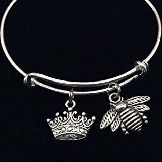 Queen Bee Silver Charm with Crown Expandable Charm Bracelet Trendy Bangle