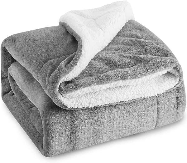 Bedsure Sherpa Fleece Blanket Queen Size Grey Plush Throw Blanket Fuzzy Soft Blanket Microfiber