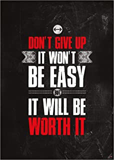 GREAT ART Motivational Workout Poster 24.4 x 16.5 in (59.4 x 42 cm) – Wall- and Fitness Poster Motivational Quotes – Don`t give up it Won`t be Easy but it Will be Worth it – Nr.1