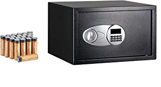 Amazon Basics Steel Security Safe with AA Performance Batteries - Secure Cash, Jewelry, ID Documents - Black, 1.2 Cubic Fe...