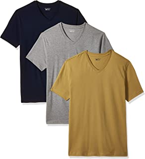 Amazon Brand - Symbol Men's Solid Regular fit T-Shirt (Pack of 3) (AW17PLPO3V2_Iris Navy, Dark Grey Melange, Inca Gold M)