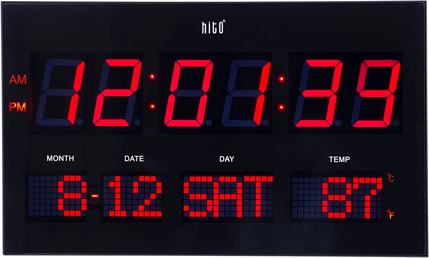 """Hito 14.2"""" Large Oversized LED Wall Clock Seconds Date Day Indoor Temperature Adjustable Brightness Memory Function Adapter Included Decorative for Living Room Office Conference Room Bedroom (Red)"""