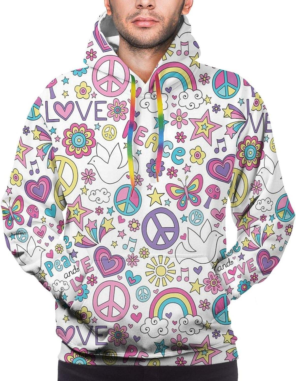 Men's Hoodies Sweatshirts,Retro Summer Concept Pine in Poly Design Memphis