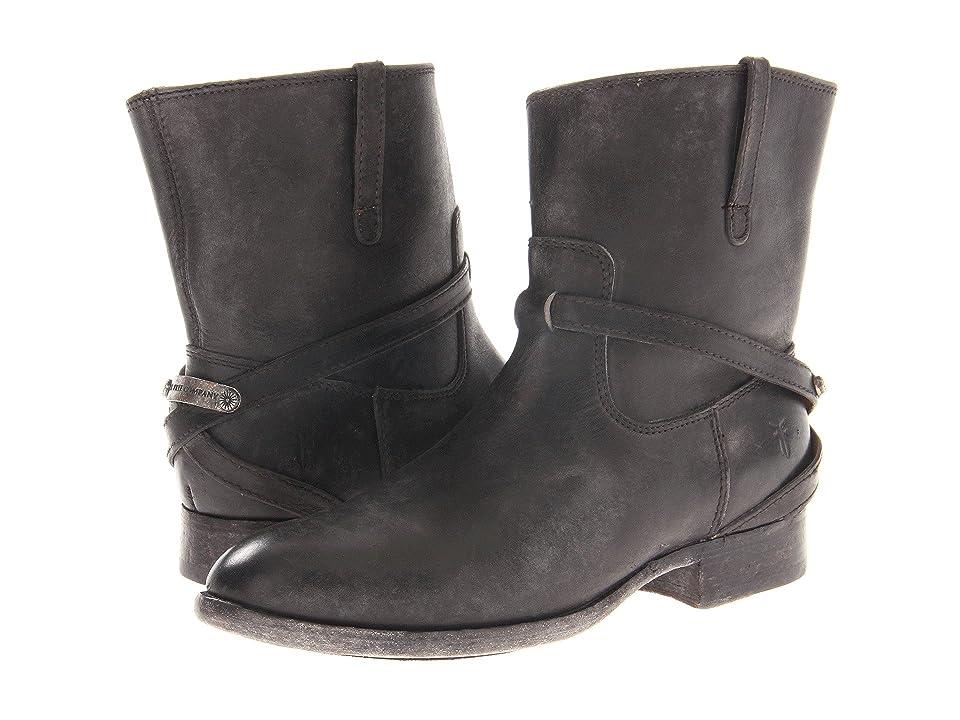 Frye Lindsay Plate Short (Black Stone Antiqued) Cowboy Boots