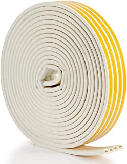 Seal Weather Stripping White - 52Feet/16meter Epdm Foam Seal Strip by Savina, Anti-Collision Self Adhesive. Best Weatherstrip for Door/Window - 4 Seal (D Type - White)