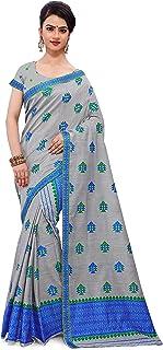 SKiran's Assamese Weaving AC Cotton Mekhela Chador Saree - Dn 8188 Mekhla Sador (Grey & Royal Blue)