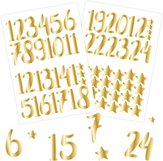 Papierdrachen 24 naklejki z numerami do kalendarza adwentowego - złote | numer 70 - naklejki do kalendarza bożonarodzeniow...