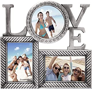 Adeco 3 Openings Antique Silver Love Wall Hanging Family Couple Vacation Picture Photo Detailed Frame - Made to Display Two 4x6 and One 5x5 Photos