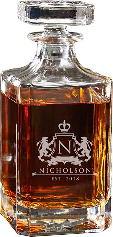 Groomsmen Whiskey Decanter Gift Custom Engraved Groomsman Gifts Ideas With Free Engraving Lion Design