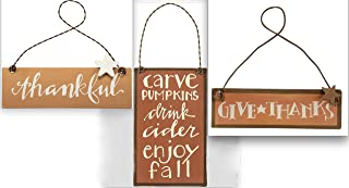 Primitives by Kathy Fall Thanksgiving Small Tin Ornament Signs Bundle - Set of 3 - Thankful - Give Thanks - Carve Pumpkins Drink Cider Enjoy Fall